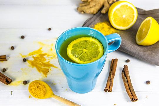 tea with turmeric. body, liver detox. Lemon, ginger, pepper, cinnamon.