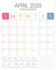 April 2020 desk calendar vector illustration