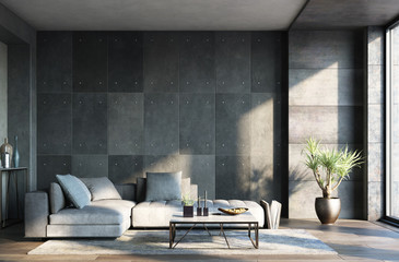 Fotomurais - Living room interior in loft, industrial style, 3d render
