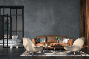 Wall Mural - Living room interior in loft, industrial style, 3d render