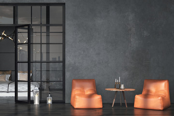 Fototapete - Living room interior in loft, industrial style, 3d render