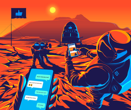 The astronauts are taking selfies and playing social networks for celebrating for the first walk on Mars with the Olympus Mons behind.
