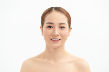 Fotobehang Akt Beauty Asian Woman face Portrait. Beautiful Spa model Girl with Perfect Fresh Clean Skin. Youth and Skin Care Concept. Isolated on a white background