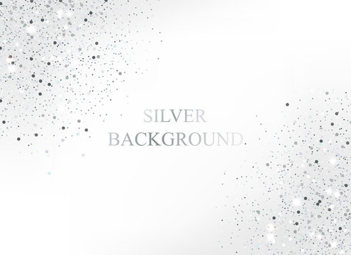 Luxury silver glitter dust in corner for holidays.