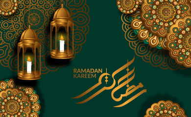 luxury geometrical mandala ornament decoration with hanging 3D golden fanoos arabian lantern with green background and calligraphy for ramadan kareem