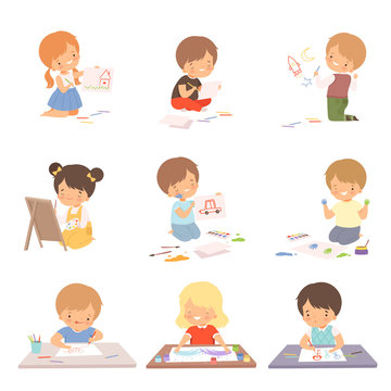 Cute Children Sitting on the Floor and Drawing Pictures with Colorful Pencils Set, Adorable Young Artists Cartoon Characters, Kids Creative Hobbies Vector Illustration