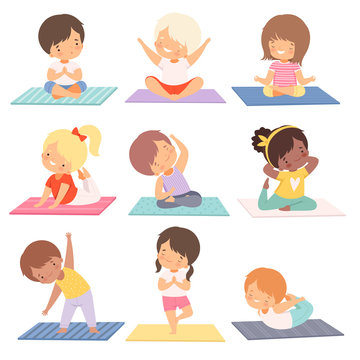 Cute Boys and Girls Practicing Yoga Exercises Collection, Active Healthy Lifestyle Vector Illustration