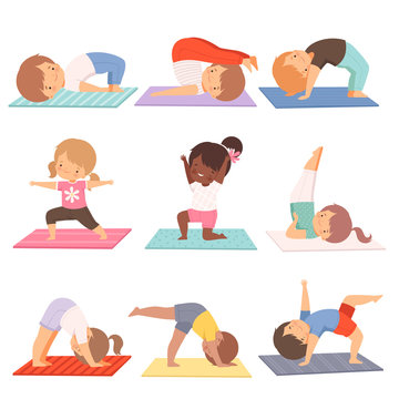 Cute Kids Practicing Yoga Exercises Collection, Active Healthy Lifestyle Vector Illustration