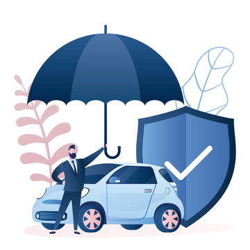 Businessman hold umbrella, modern auto safe shield. Insurance and accident protection concept background.