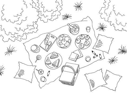Picnic view from above top graphic black white landscape sketch illustration vector