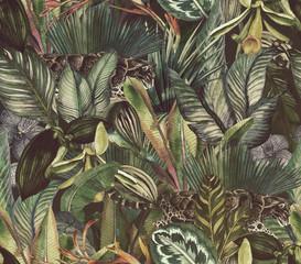 Naklejka premium Tropikalne kwiaty w dżungli