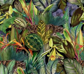 Naklejka premium Tropikalny wzór dżungli z mgłą i tropikalnymi kwiatami.