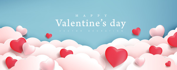 Valentines day background with Heart Shaped Balloons. Vector illustration.banners.Wallpaper.flyers, invitation, posters, brochure, voucher discount. Fotomurales