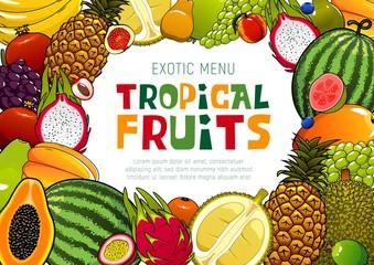 Tropical fruits, juicy exotic pineapple, mango and watermelon, papaya and guava. Vector natural organic tropic durian and exotic dragon fruit, pomegranate and grape, melon and mango - fototapety na wymiar