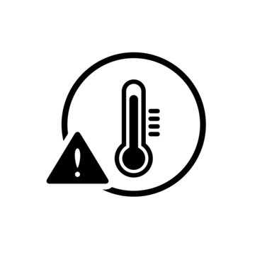 High temperature warning sign / icon, black simple flat glyphs design vector for app ui ux web button logo isolated on white background
