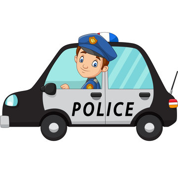 Cartoon officer police driver car