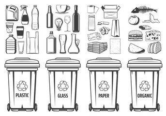 Trash recycling bins icons, plastic, glass or paper and organic wastes PET symbols. Vector recycle bin containers with food wastes and reusable litter, garbage segregation and environment conservation
