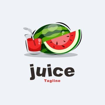 watermelon juice logo design premium