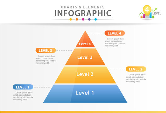 Infographic template for business. 4 Steps Pyramid Chart diagram, presentation vector infographic.