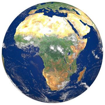 3D Realistic World Globe Europe Asia Africa Illustration White Background