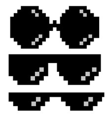 glasses pixel art style 8-bit, thug lifestyle, vector glasses meme for design photos and pictures, easy to edit