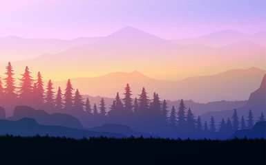 Foto auf Acrylglas Flieder Nature forest Natural Pine forest mountains horizon Landscape wallpaper Sunrise and sunset Illustration vector style colorful view background