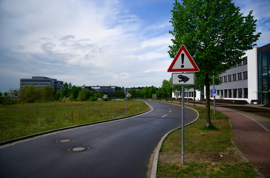 danger toad migration sign in Germany near the road.