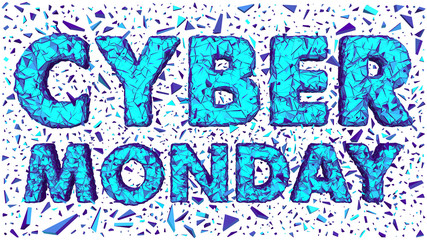 Cyber Monday Polygonal Cracked 3D Lettering Isolated White Background