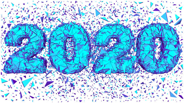 New Year 2020 Polygonal Shredded 3D Lettering Isolated White Background