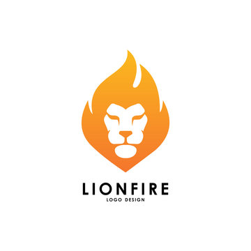 lion fire logo vector template