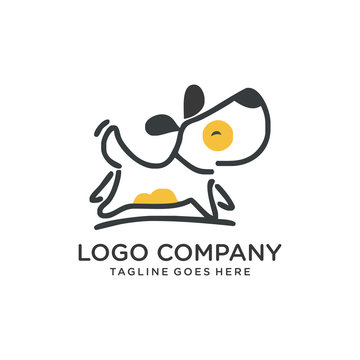 mono line dog cat icon logo template vector illustration