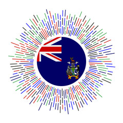 SGSSI sign. Country flag with colorful rays. Radiant sunburst with SGSSI flag. Vector illustration.