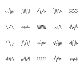 Sound waves flat line icons set. Vibration, soundwave, audio voice signal, abstract waveform frequency vector illustrations. Outline pictogram for music app. Pixel perfect 64x64. Editable Strokes