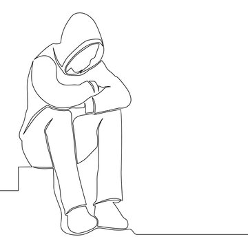 Continuous line drawing sad man alone concept