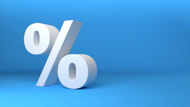 White percentage icon 3D on blue background 3d illustration