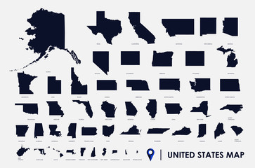 United States of America infographic, USA state maps by territory area, detailed vector illustration