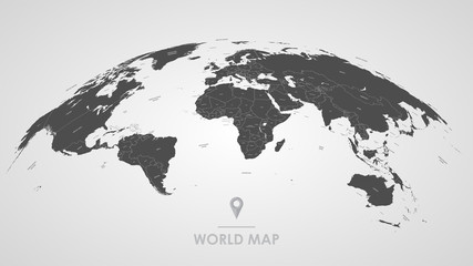 Detailed global world map, with borders and names of countries, seas and oceans, vector illustration