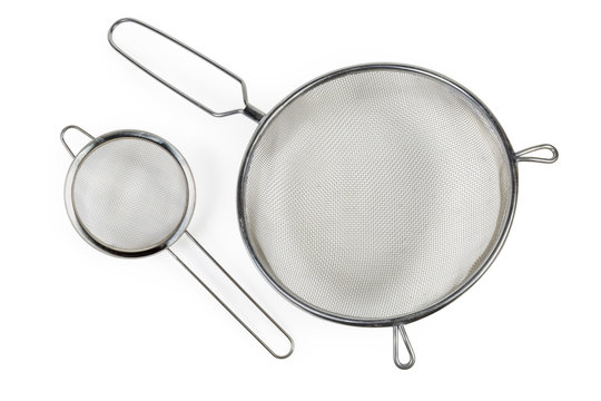Top view of two round stainless steel sieve different sizes