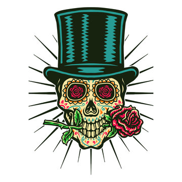 Vector illustration of sugar skull wears a top hat and bites the rose