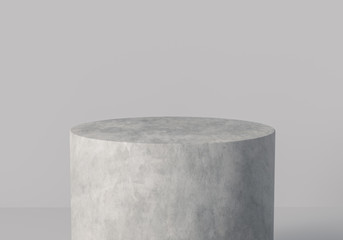 Product display platform. One step white stone textured podium isolated. Cylinder display. 3d rendering. Papier Peint