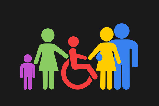 Inclusion - disabled person with phsical disability and special needs is accepted by team, family, group of people. Acceptance and social inclusivity. Vector illlustration.
