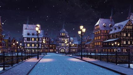 Wall Mural - Cozy medieval town with traditional half-timbered european houses and empty road over the bridge lit by street lights at calm winter night during snowfall. With no people 3D animation rendered in 4K