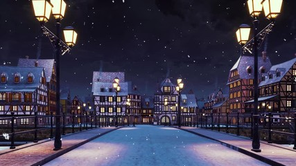 Wall Mural - Moving along empty bridge lit by street lights to a cozy european town with traditional half-timbered rural houses at calm winter night during snowfall. With no people 3D animation rendered in 4K