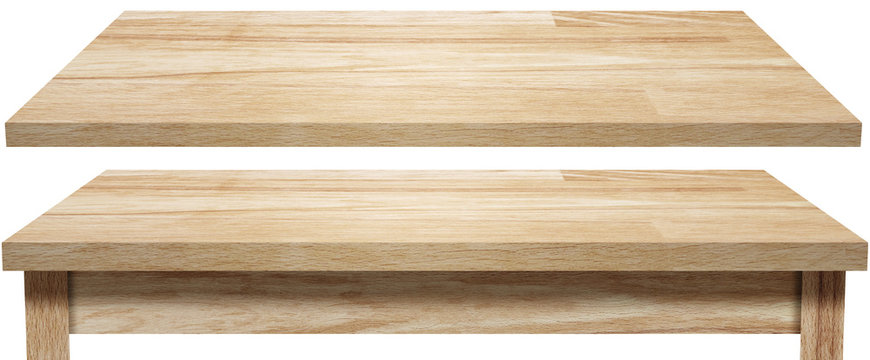 wooden table top and shelf isolated on white