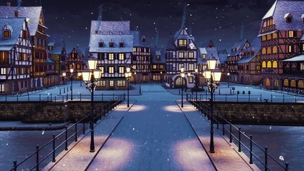 Wall Mural - Cozy snow covered medieval town on the river with traditional half-timbered european houses and empty bridge lit by street lanterns at snowfall winter night. With no people 3D animation rendered in 4K