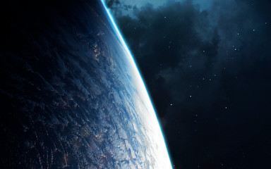 Wall Mural - Earth planet close up orbit shot. Elements of this image furnished by NASA