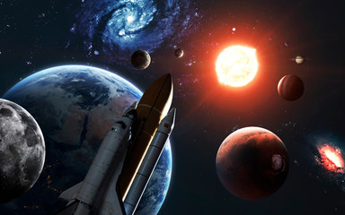 Highly detailed solar system visualisation and shuttle. Elements of this image furnished by NASA