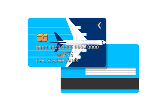 Miles bank card with airplane on blue cover front and back design template. Plastic credit card with bonuses for frequent air travel vector isolated illustration