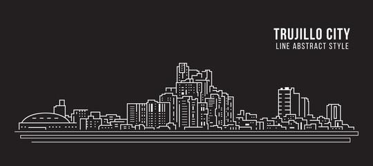 Cityscape Building panorama Line art Vector Illustration design - Trujillo city
