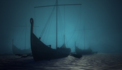 Vikings ships in the blue deep fog